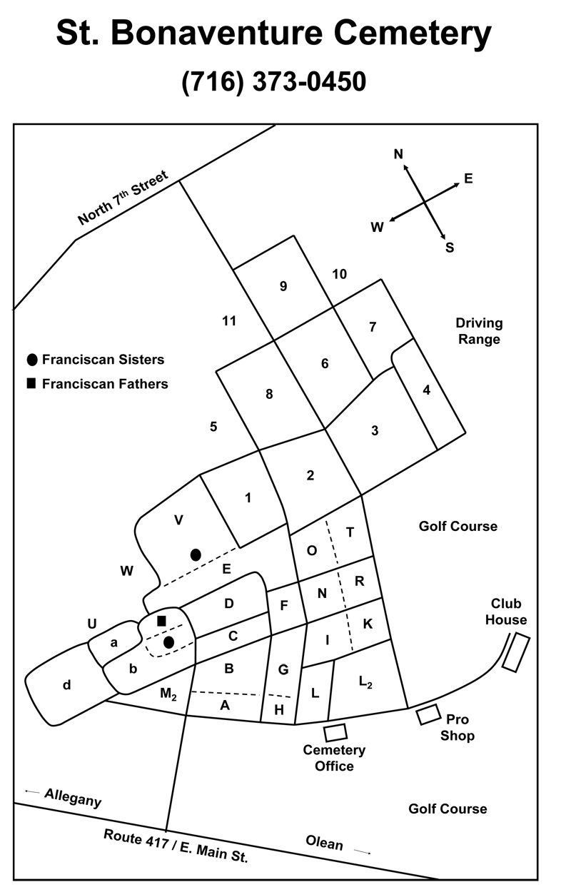 Bonaventure Cemetery Map Cemetery Map – St. Bonaventure Cemetery